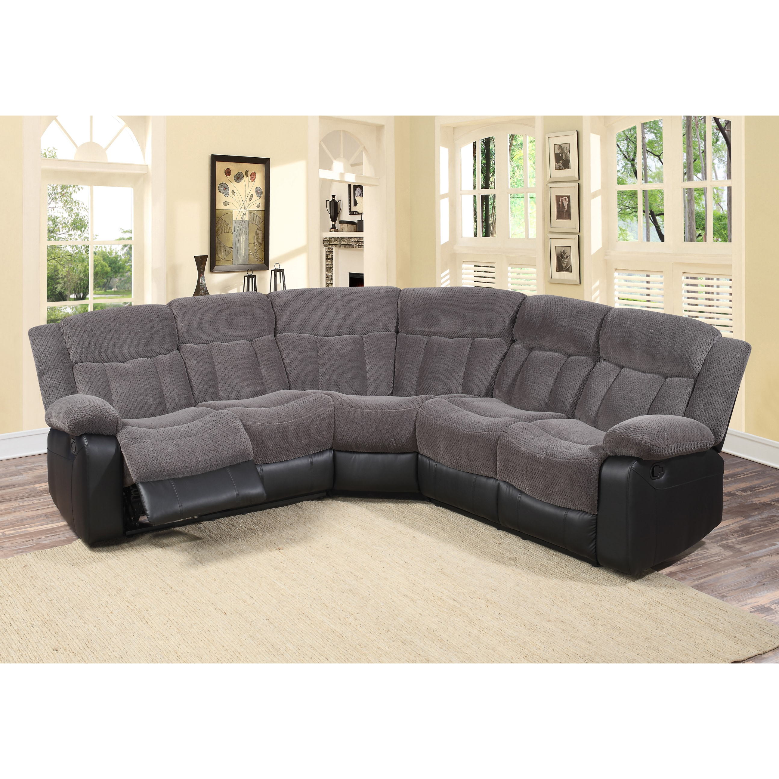 tonnie 3 piece grey fabric and faux leather reclining sectional living room sofa