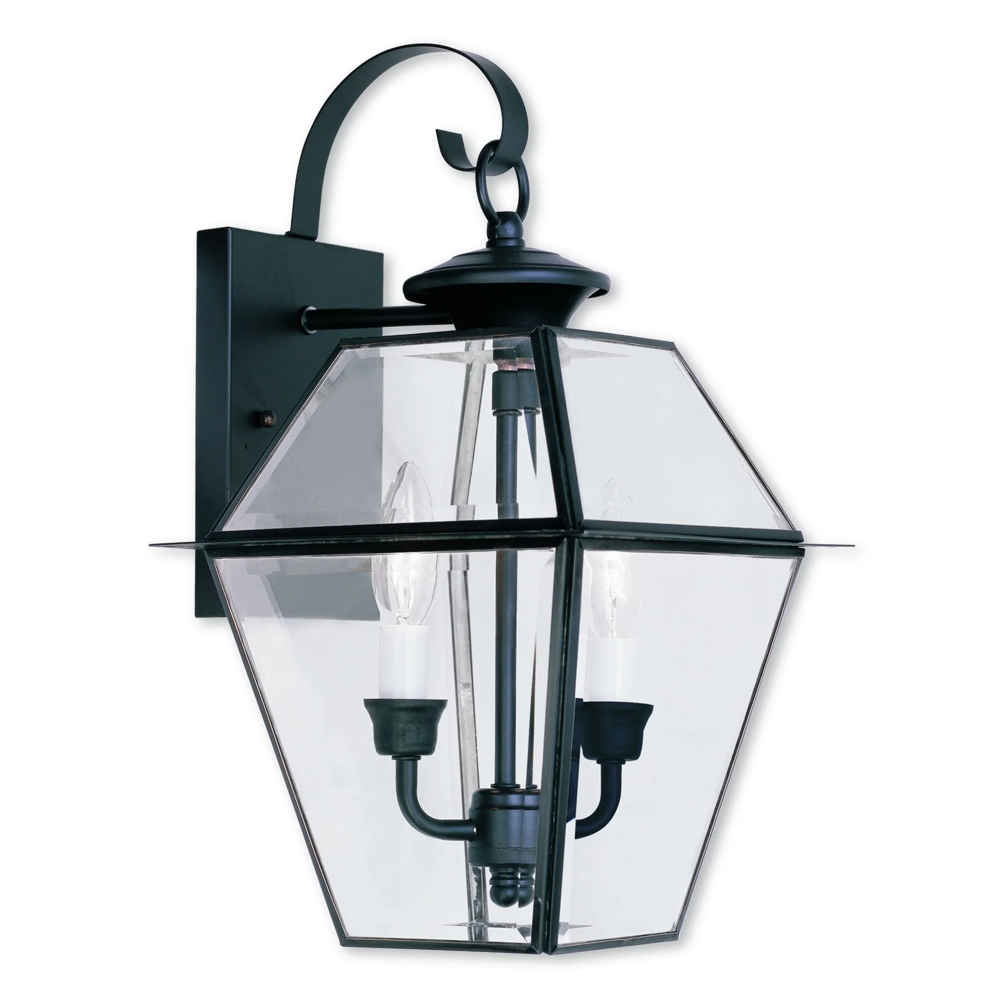 livex lighting westover black brass 2 light outdoor wall lantern