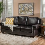 Taro 3 Seat Top Grain Leather Studded Sofa By Christopher Knight Home Overstock 12052729