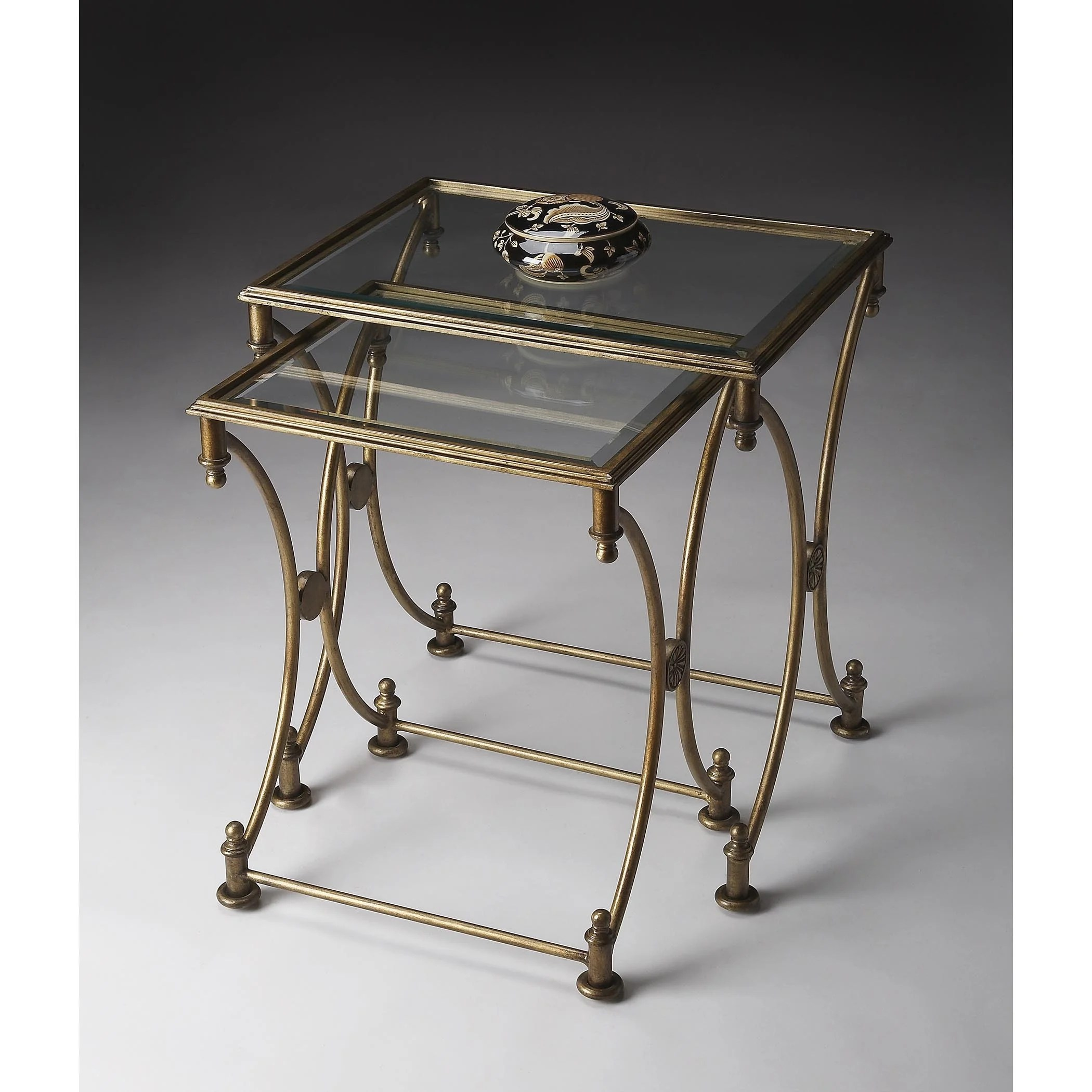 Handmade Butler Beverly Antique Gold Metal And Glass Nesting Tables Overstock 12058840