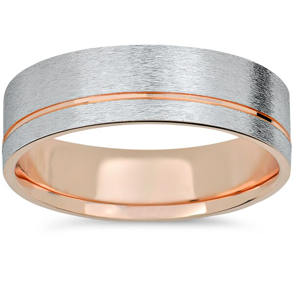 Shop 14k Rose Gold Amp White Gold Two Tone 6mm Brushed Mens