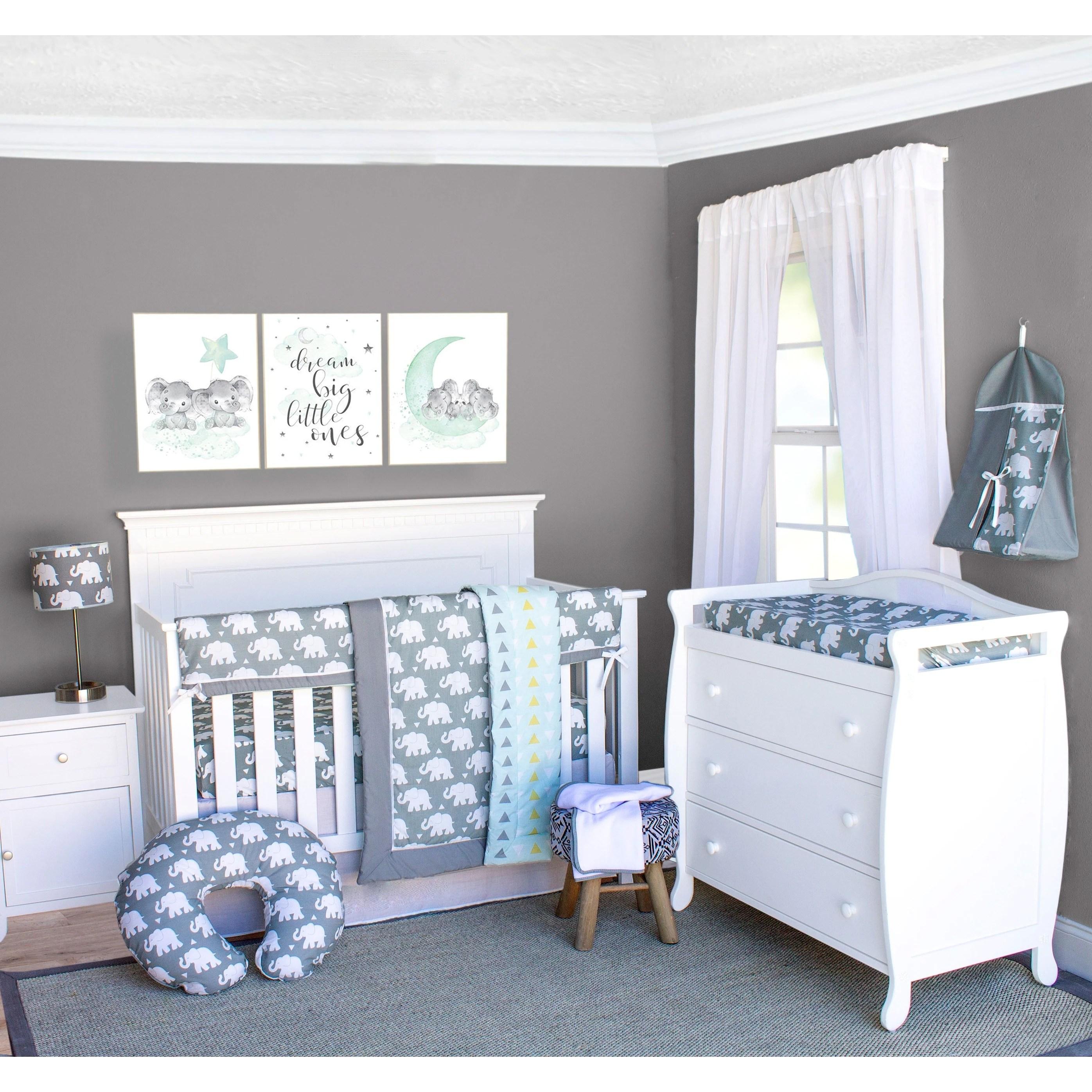 Shop Pam Grace Creations Elephant Crib Baby Bedding Set 6 Piece Crib Set Overstock 12304178
