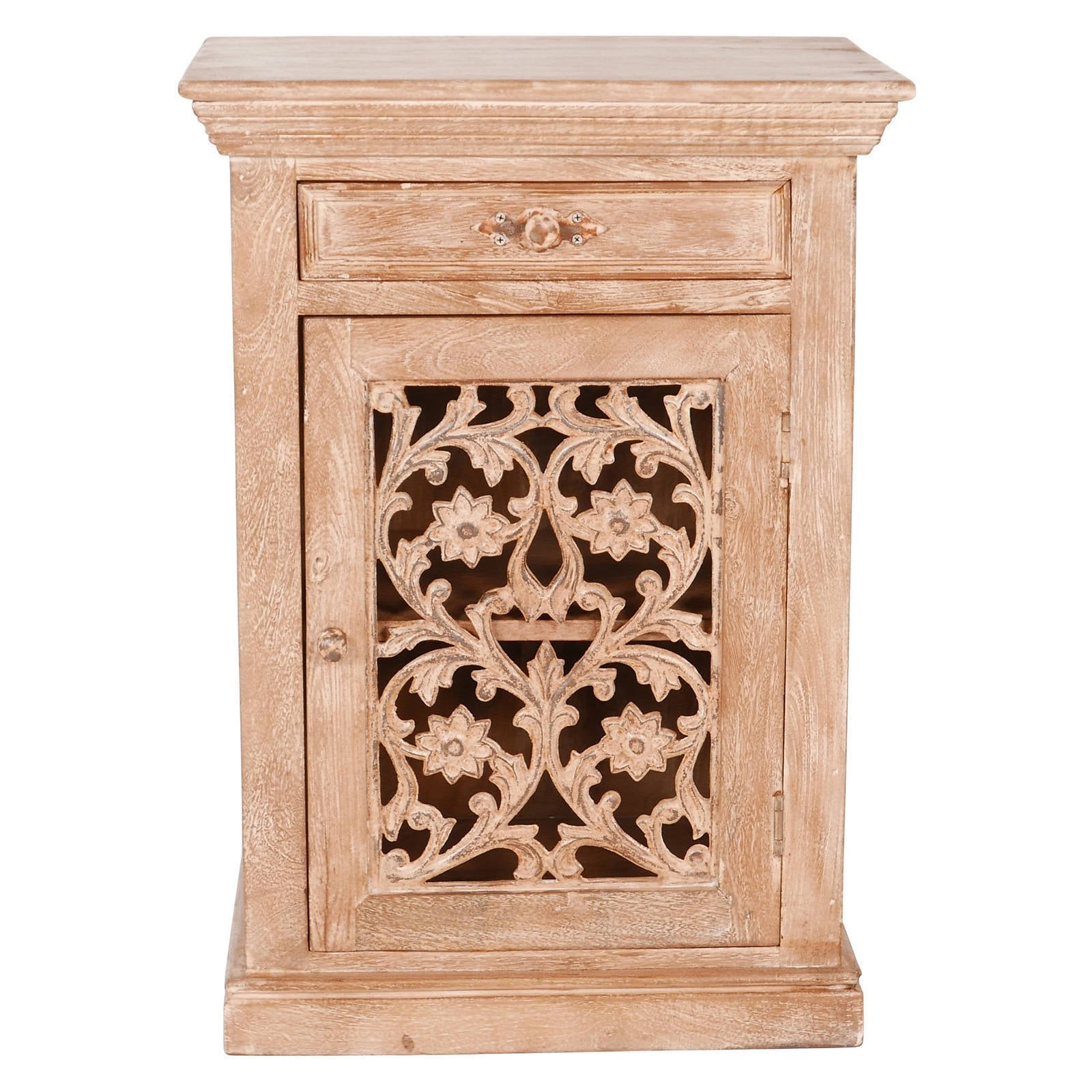 handmade magnolia rustic reclaimed wood and metal nightstand india