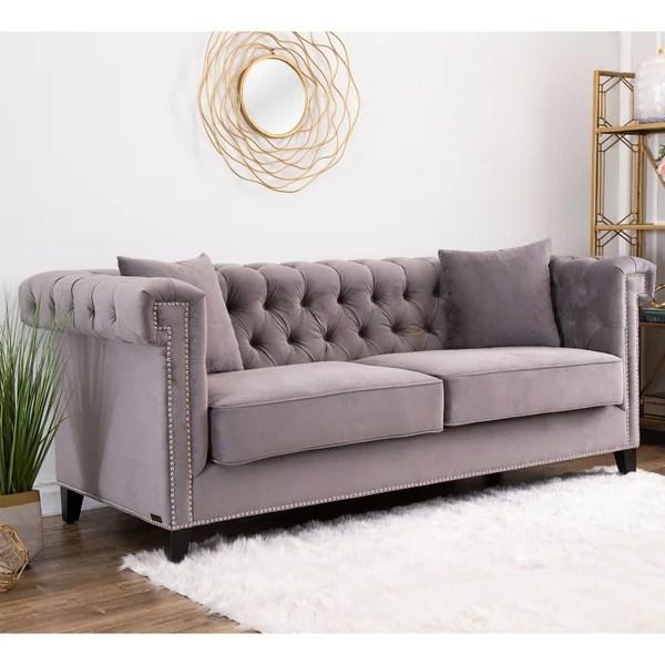 Abbyson Victoria Grey Velvet Tufted Sofa
