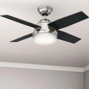 Buy Modern   Contemporary Ceiling Fans Online at Overstock com   Our     Hunter Fan Dempsey Collection Brushed Nickel 44 inch Ceiling Fan with 4  Reversible Black Oak