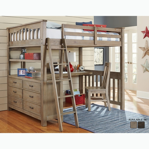 Shop Highlands Collection Driftwood Full Size Loft Bed Dresser And Desk On Sale Free Shipping Today Overstock 12493964
