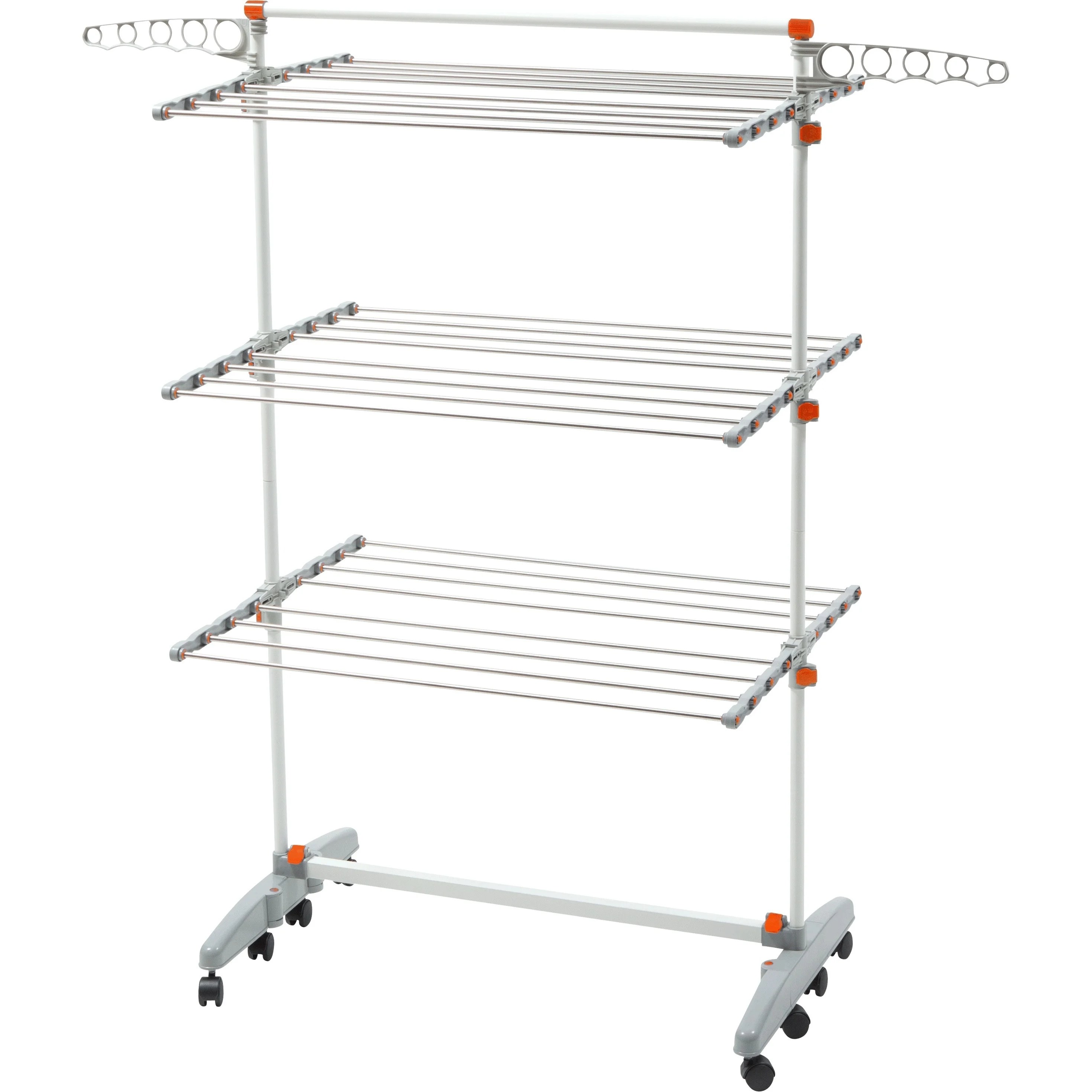 idee bdp v23 premium foldable 8 wheeled clothes laundry drying rack with stainless steel hanging rods