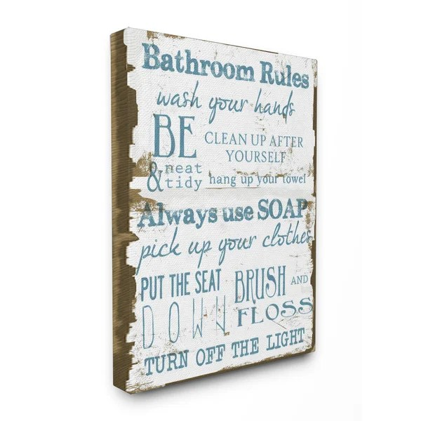bathroom rules' brown and blue stretched canvas wall art - free