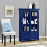 Ameriwood Home Aaron Lane Blue Bookcase With Sliding Glass Doors Overstock 12653722