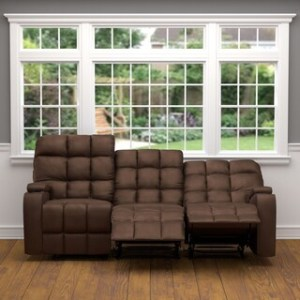 Buy Recliner Sofas   Couches Online at Overstock com   Our Best     Oliver   James Saskia Brown Microfiber 3 seat Recliner Sofa