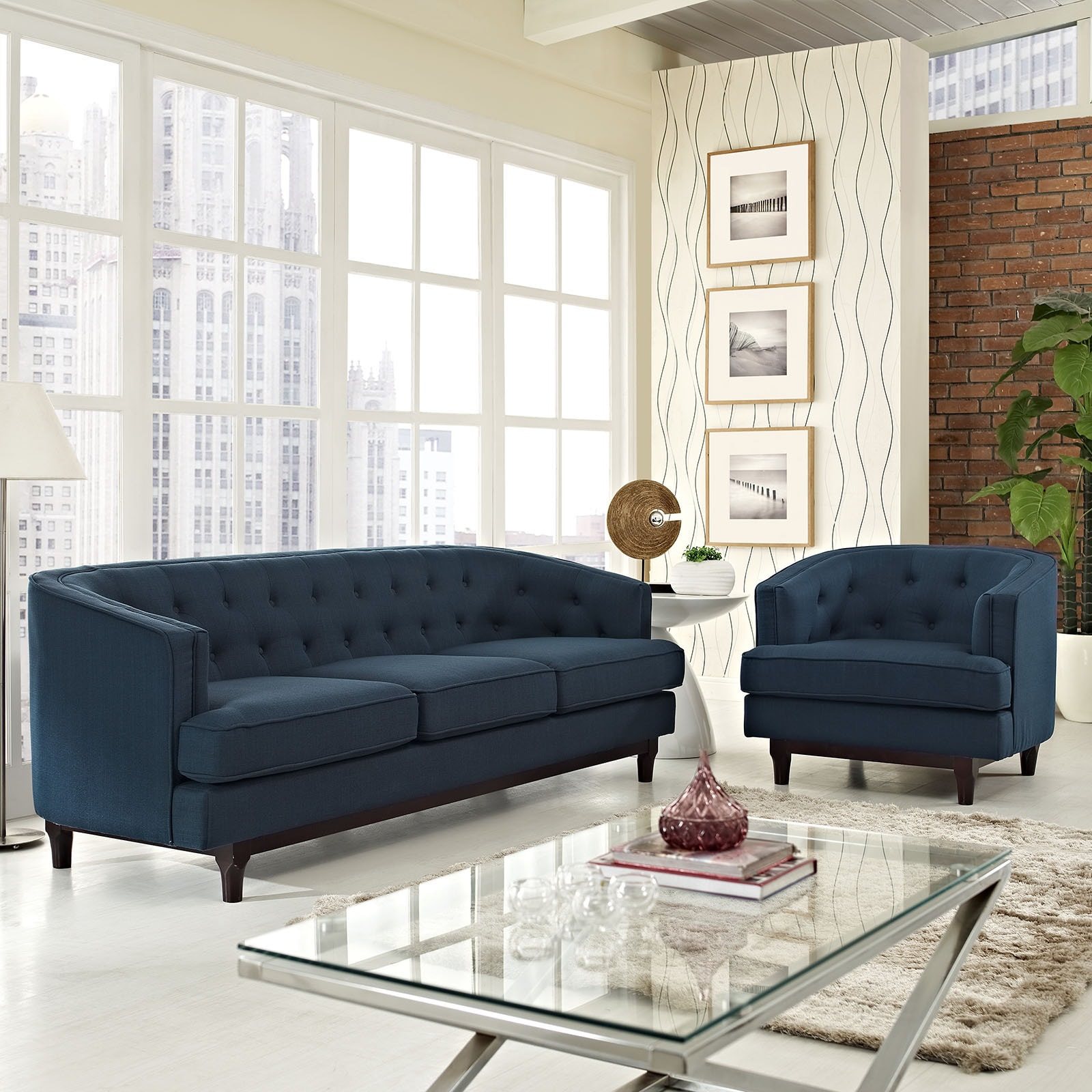 Strick Bolton Allington Button Tufted Sofa And Chair Set