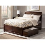 Portland King Platform Bed With Flat Panel Foot Board And 2 Urban Bed Drawers In Walnut On Sale Overstock 12776679