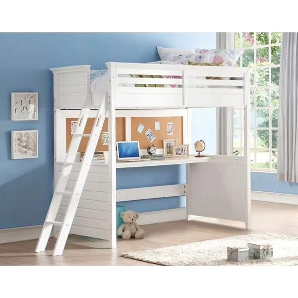 Shop White Lacey Twin Loft Bed With Desk And Cork Board