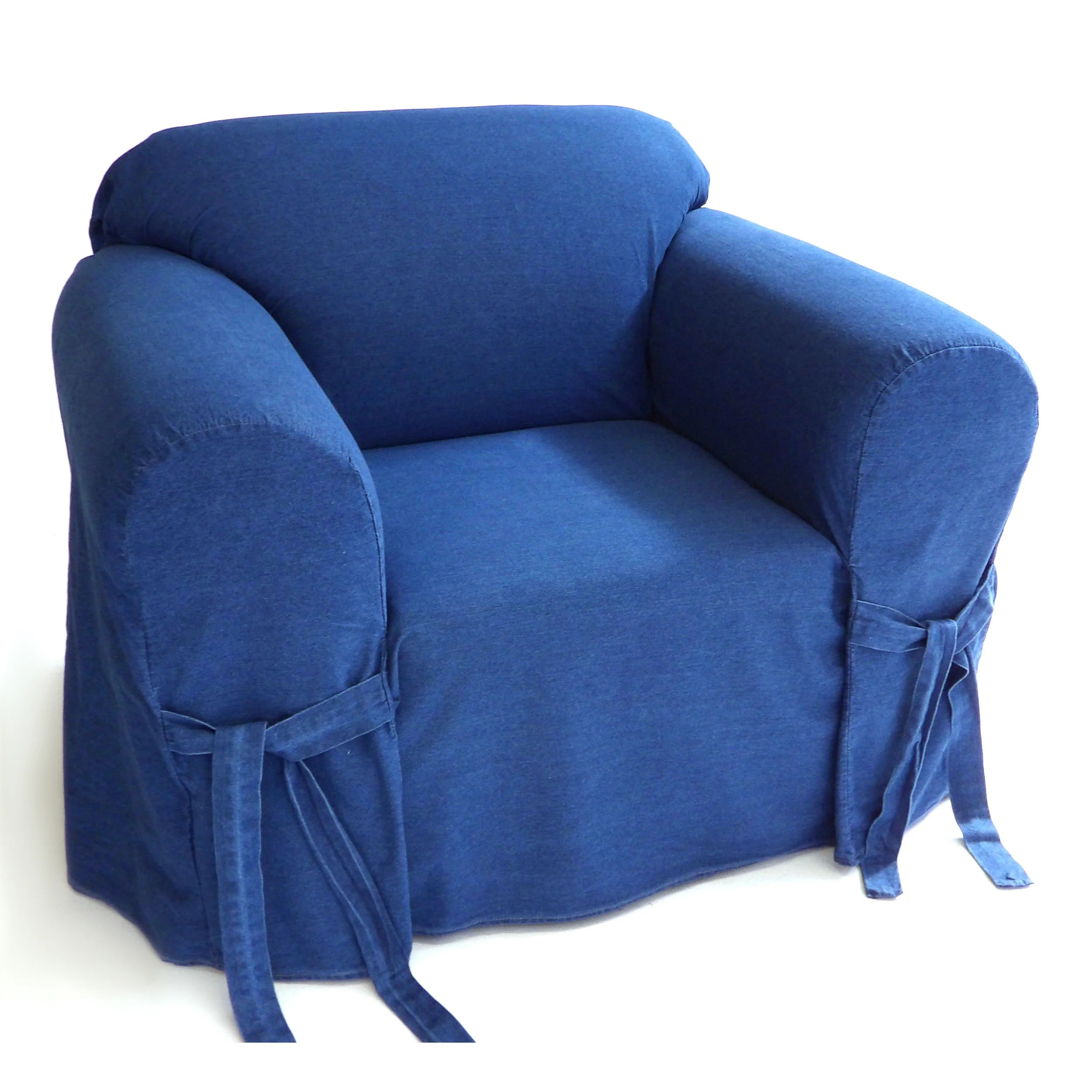classic slipcovers blue authentic denim 12 ounce 1 piece chair slipcover