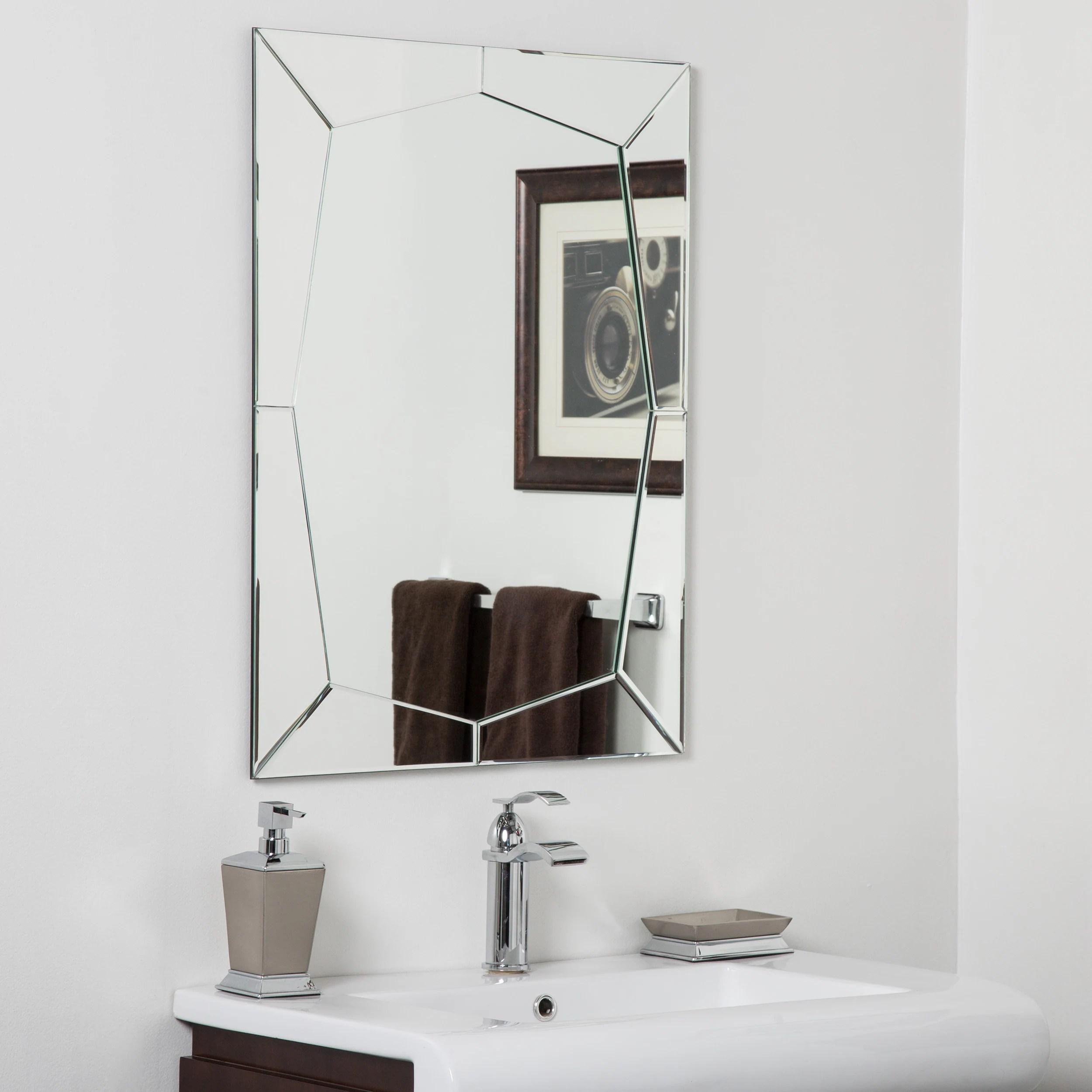 Shop Black Friday Deals On Carstadt Modern Clear Glass Frameless Bathroom Mirror Silver 31 5hx23 6wx 5d Overstock 13002443