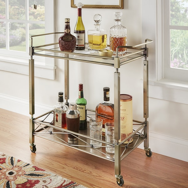 Metropolitan Antique Brass Metal Mobile Bar Cart With