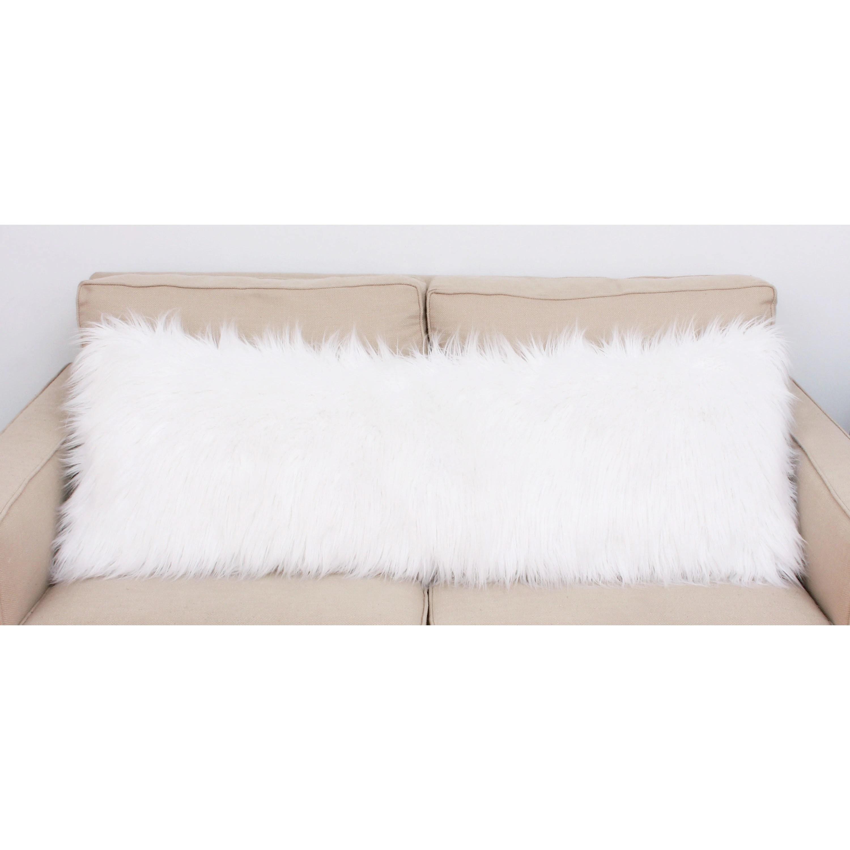 thro by marlo lorenz keller white faux mongolian fur body pillow