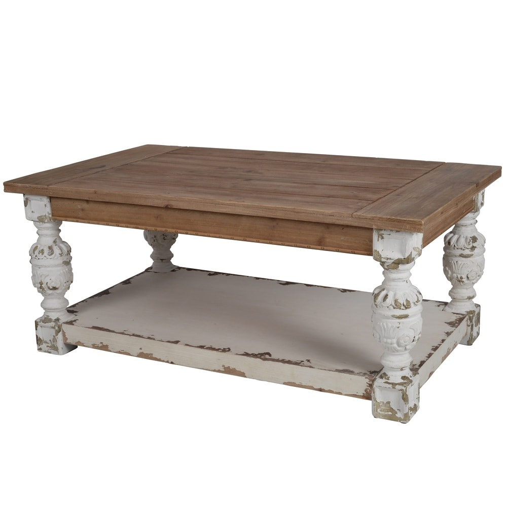 a b home distressed white wood base coffee table