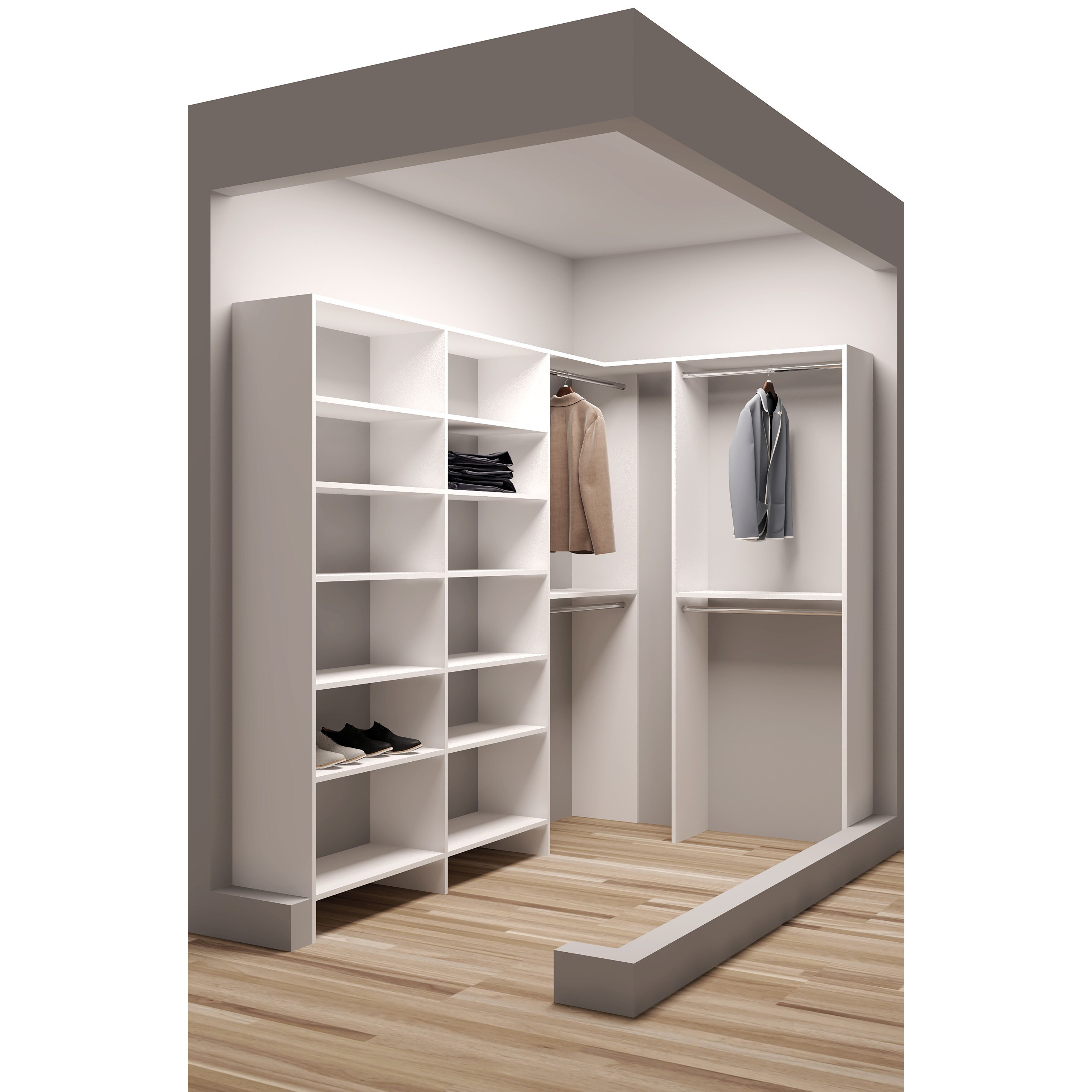Tidysquares White Wood 59 5 X 99 Walk In Closet System