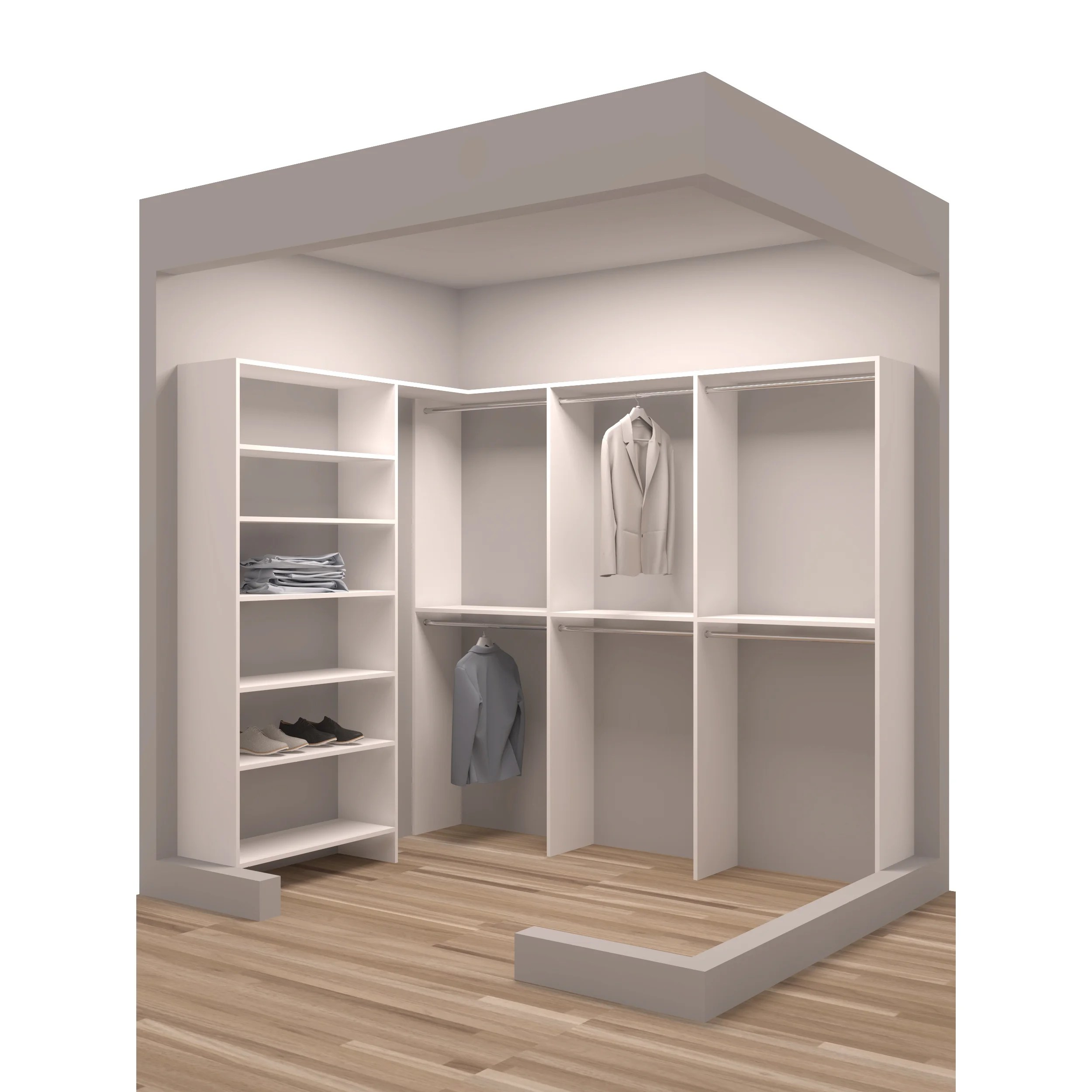 Details About Tidysquares White Wood 93 X 67 Corner Walk In Closet System White