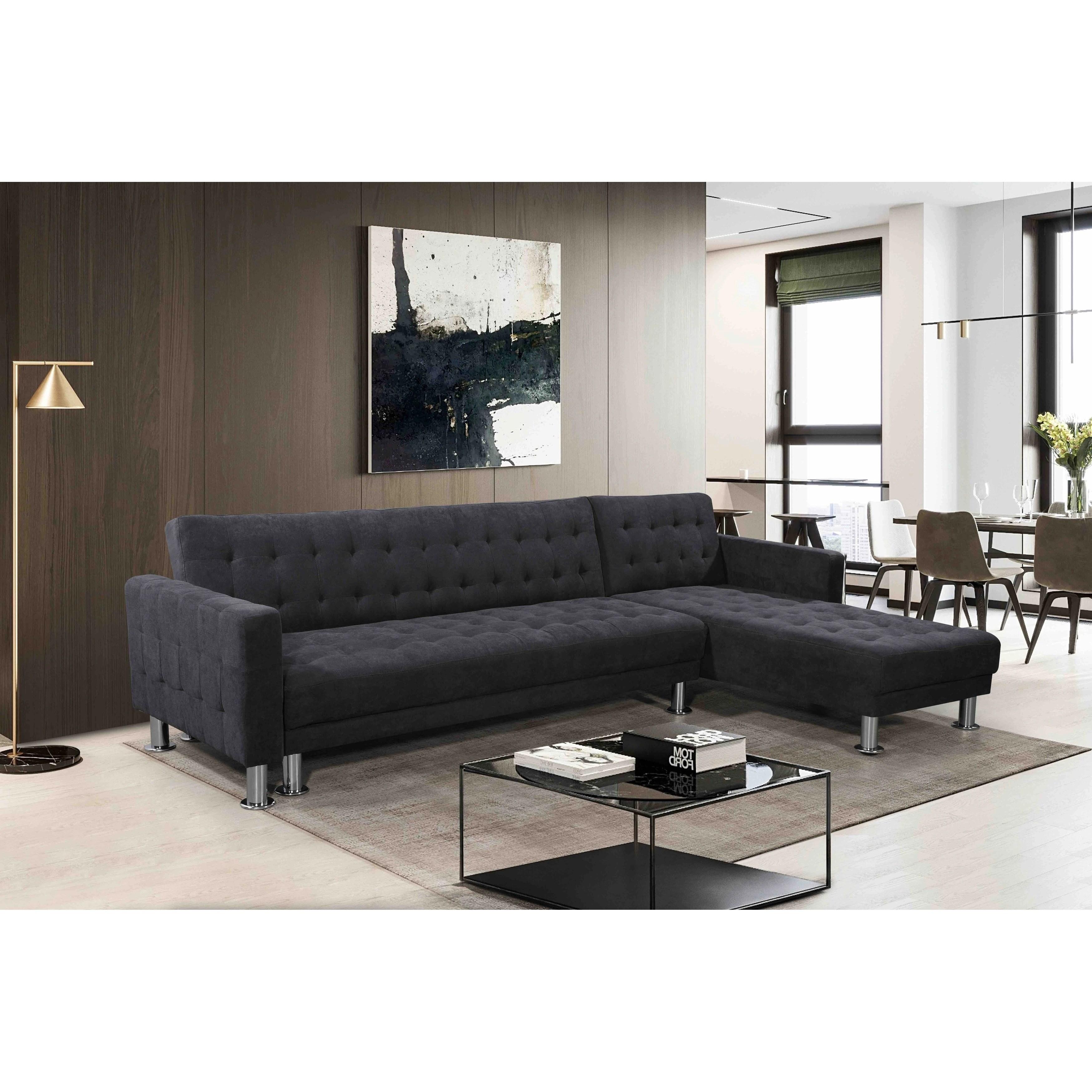 Convertible Fabric Sectional Sleeper Sofa Attalens
