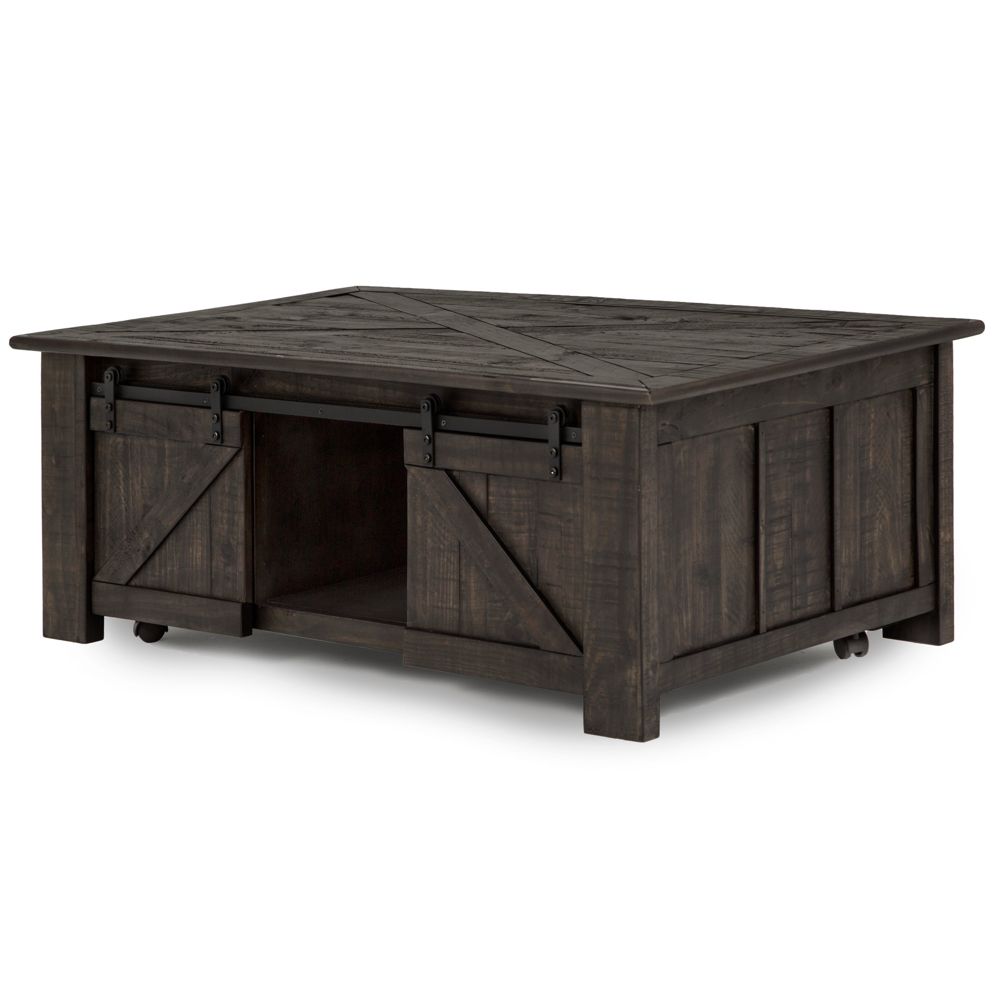 Garrett Rustic Weathered Charcoal Lift Top Sliding Door Coffee Table With Casters Overstock 13321503