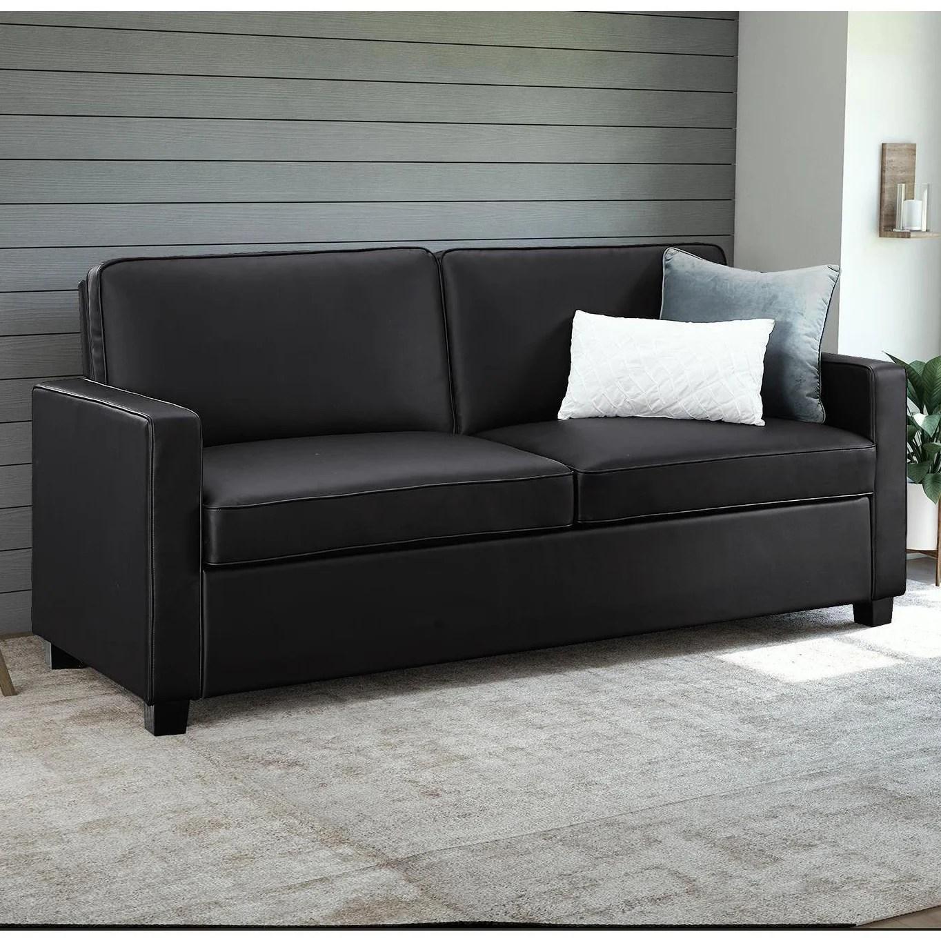 Porch Den Broward Black Faux Leather Queen Sleeper Sofa