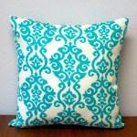Set Of 2 Artisan Pillows 18 Outdoor Geometric Trellis Navy Blue Throw Pillow Handmade Products Home Kitchen