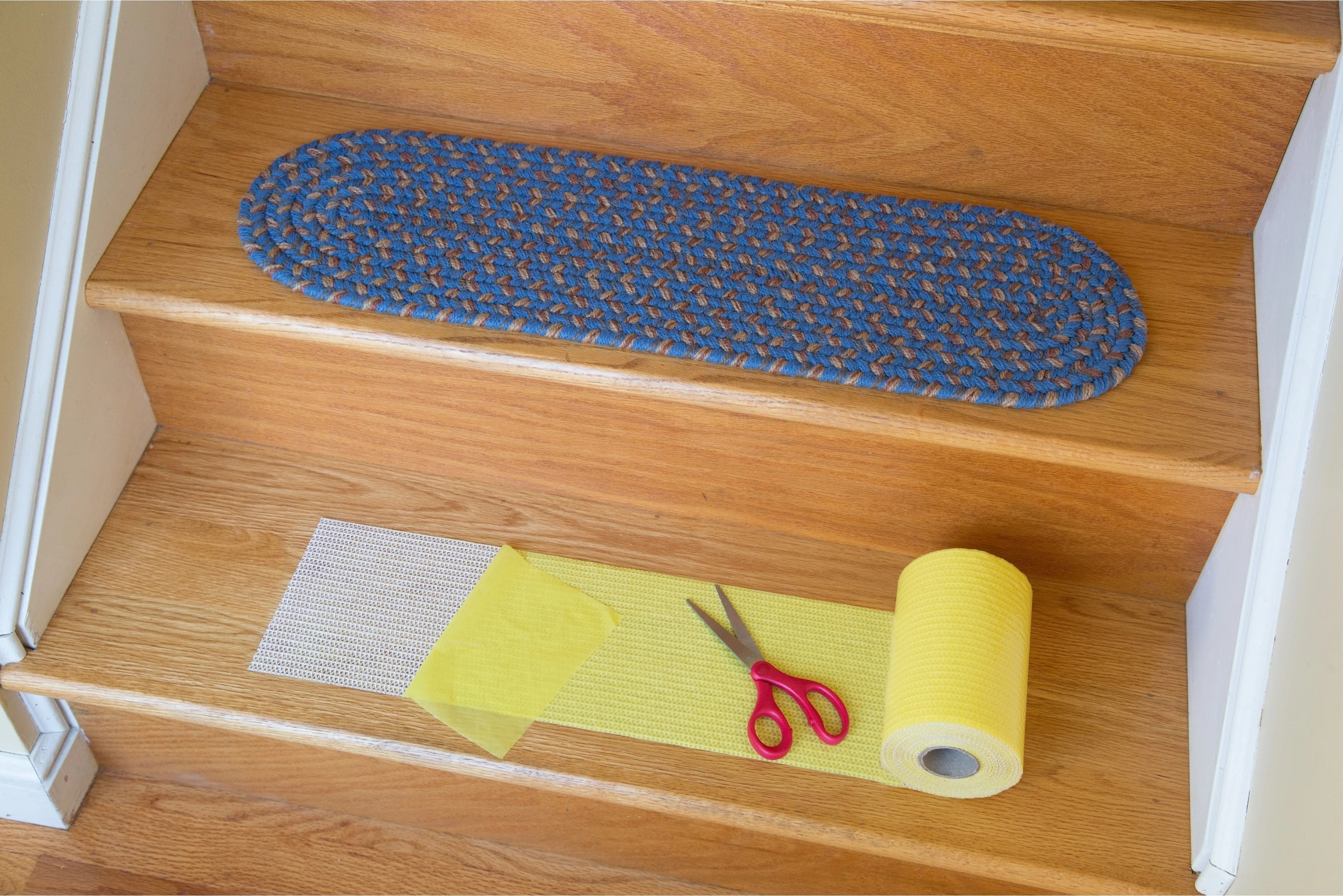 Shop Rhody Rug Yellow Synthetic Stair Tread Installation Kit On | Installing Wood Stair Treads | Stair Parts | Non Slip | Stairway | Hardwood Flooring | Stair Stringers
