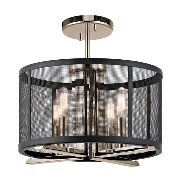 kichler lighting titus collection 4 light polished nickel pendant semi flush mount
