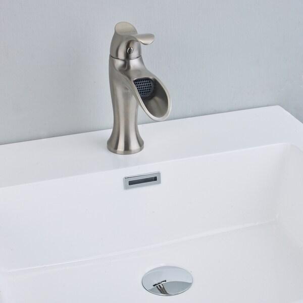 eviva swan luxury water fall single handle lever bathroom sink faucet brushed nickel