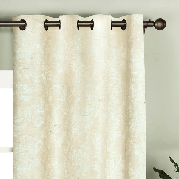 https www overstock com home garden window elements dover beige polyester and linen 96 inch jacquard damask curtain panels set of 2 14199227 product html
