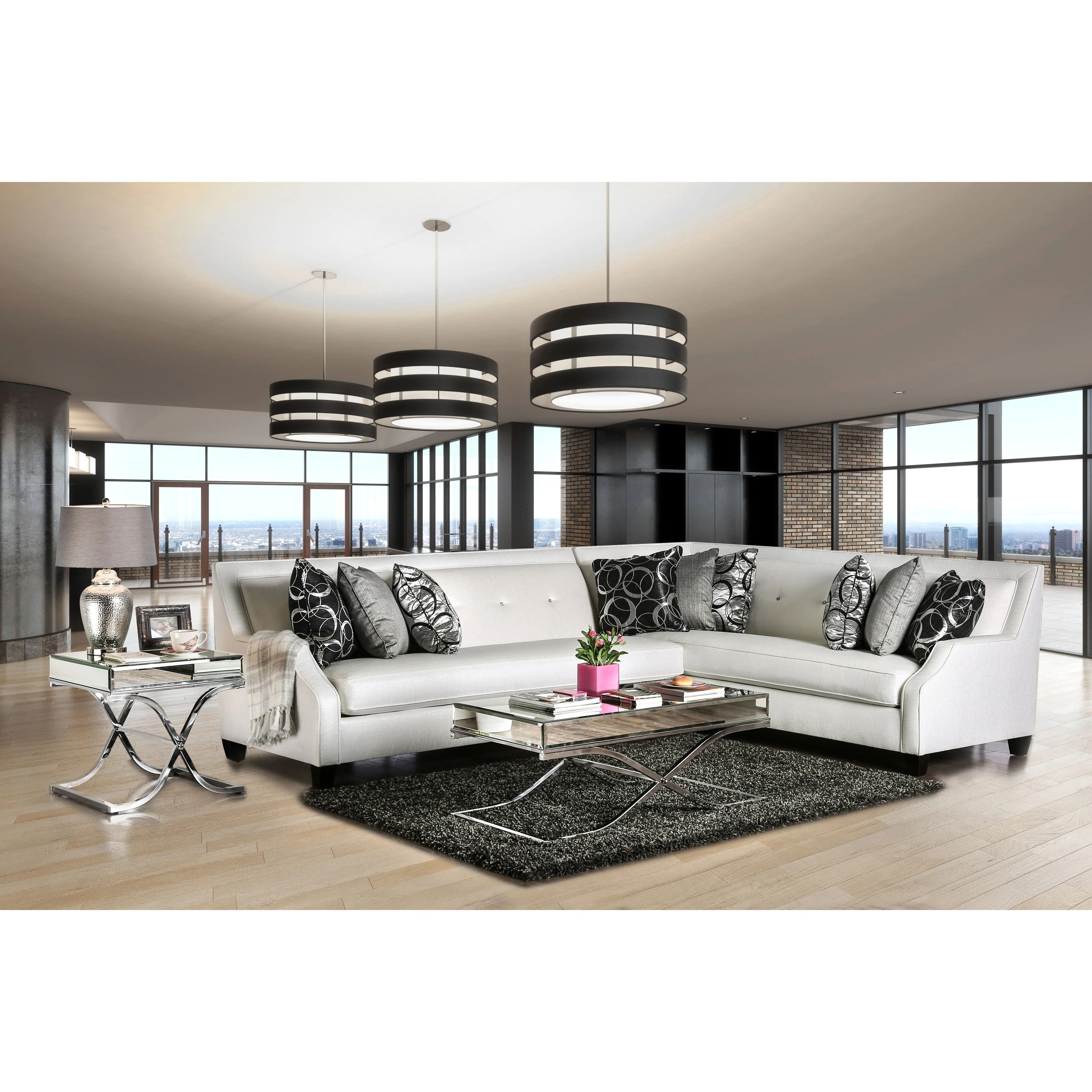 furniture of america zark contemporary white fabric tufted sectional sofas