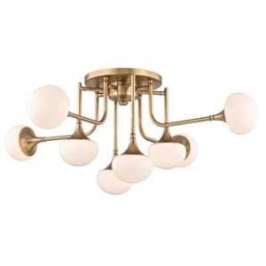 14 in to 17 in Lighting   Find Great Home Decor Deals Shopping at     Hudson Valley Fleming 8 light Aged Brass Semi Flush