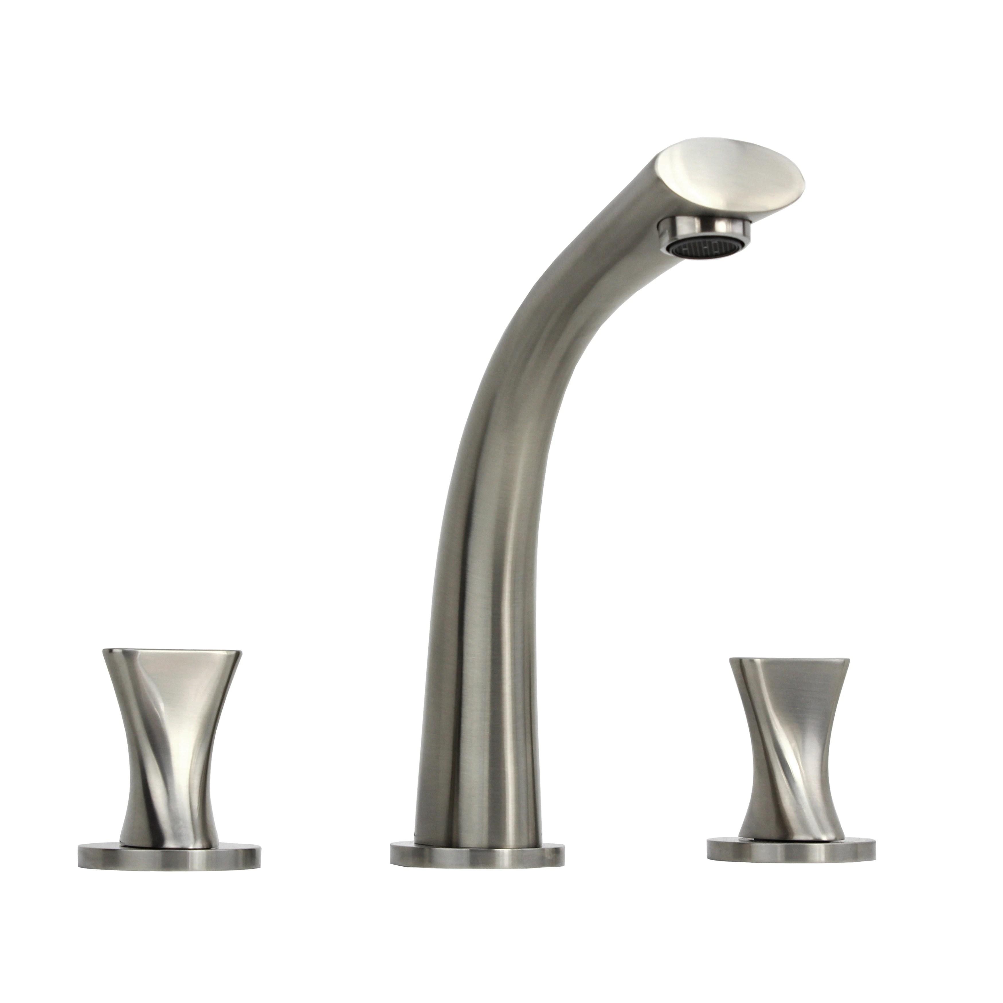 twist stainless steel brushed nickel wide spread 3 hole bathroom vanity faucet silver