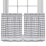 Buffalo Check Cotton Blend Grey Kitchen Curtain Tier Pair On Sale Overstock 14505953