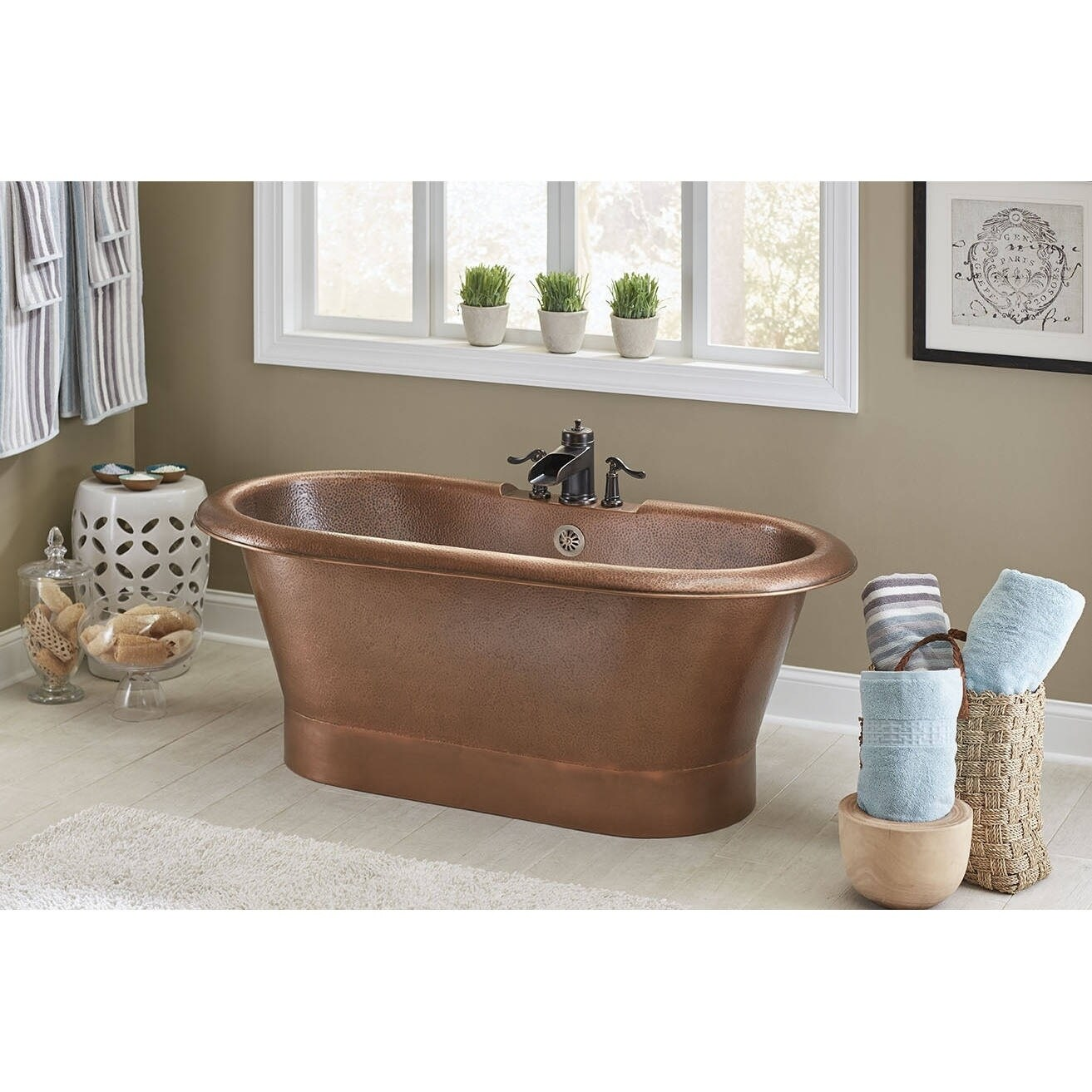 Shop Sinkology Thales Copper Freestanding Bathtub With Overflow 3 Hole Faucet Deck In Antique Copper Brown Overstock 14506705