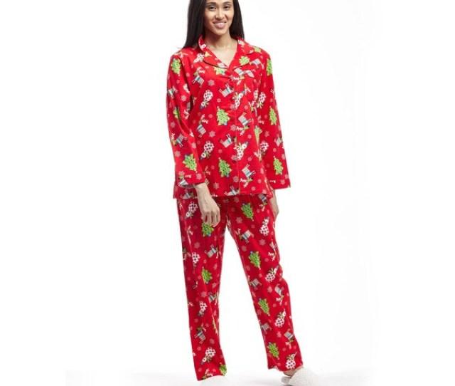 La Cera Womens Flannel Long Sleeve Christmas Pajama Set
