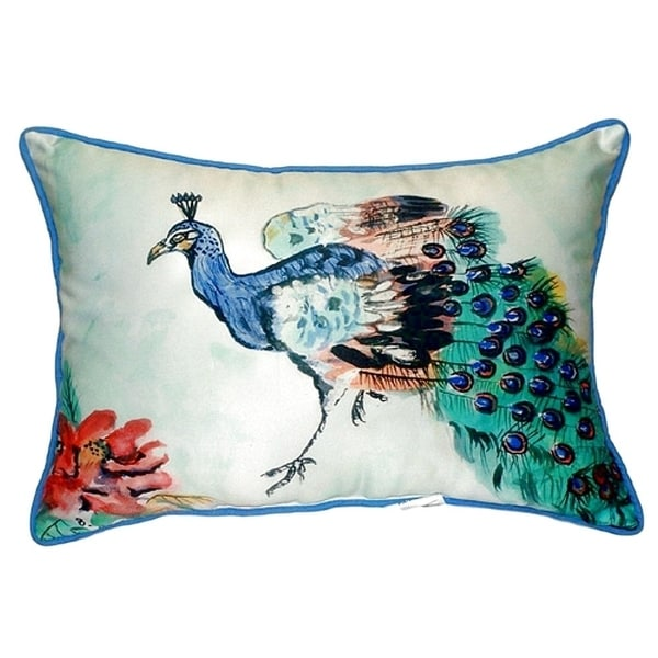 betsy s peacock small indoor outdoor throw pillow