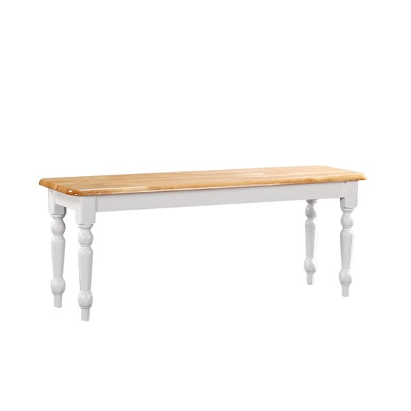 Farmhouse Dining Bench WhiteNatural Free Shipping