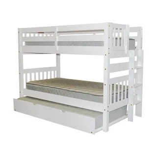 Bedz King White Wood Twin Over Bunk Bed With End Ladder And Trundle