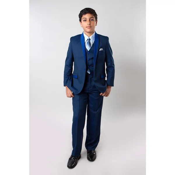 tazio boys blue suits 5 piece tone on tone shawl collar suits