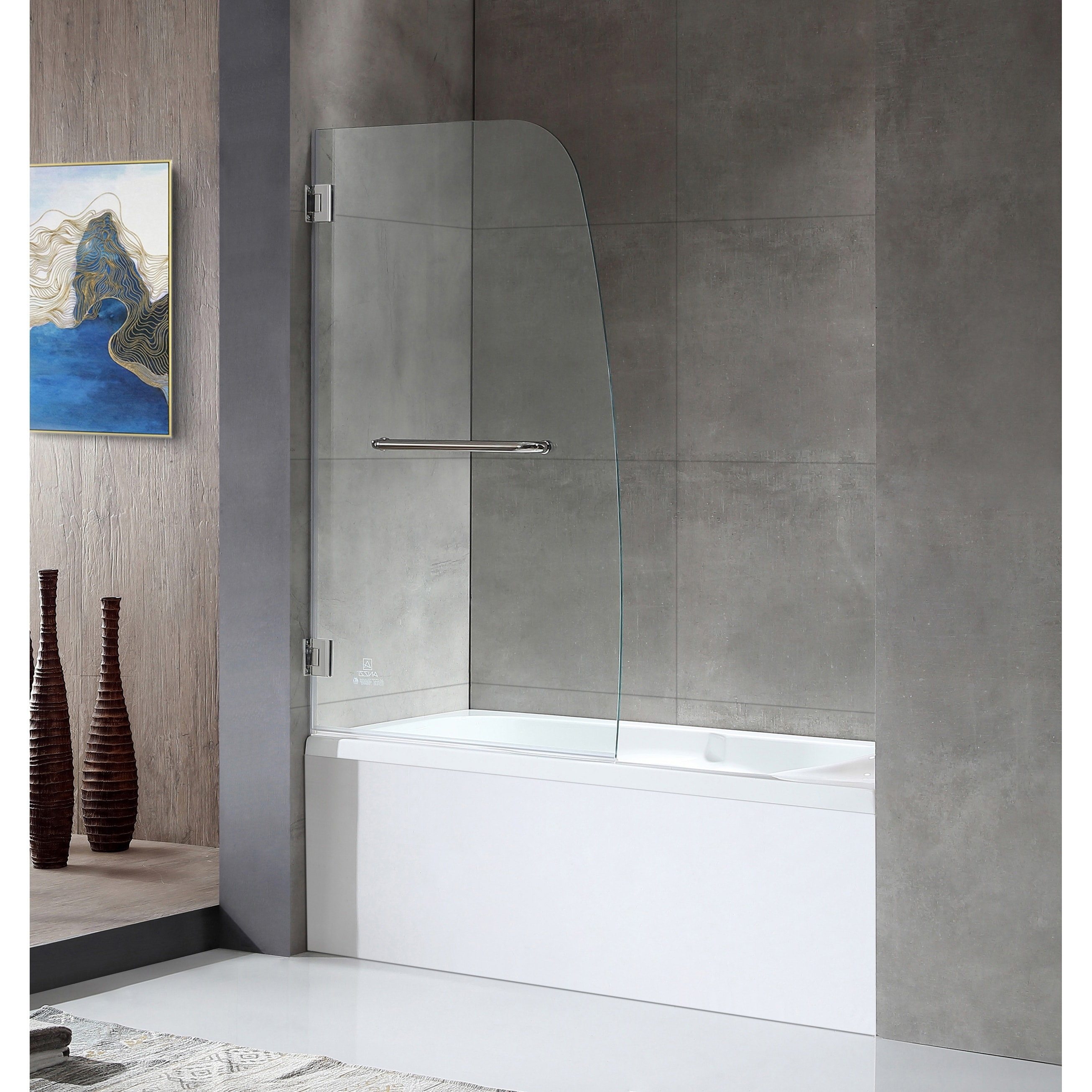 Anzzi Grand 34 X 58 Frameless Fixed Tub Door In Polished Chrome