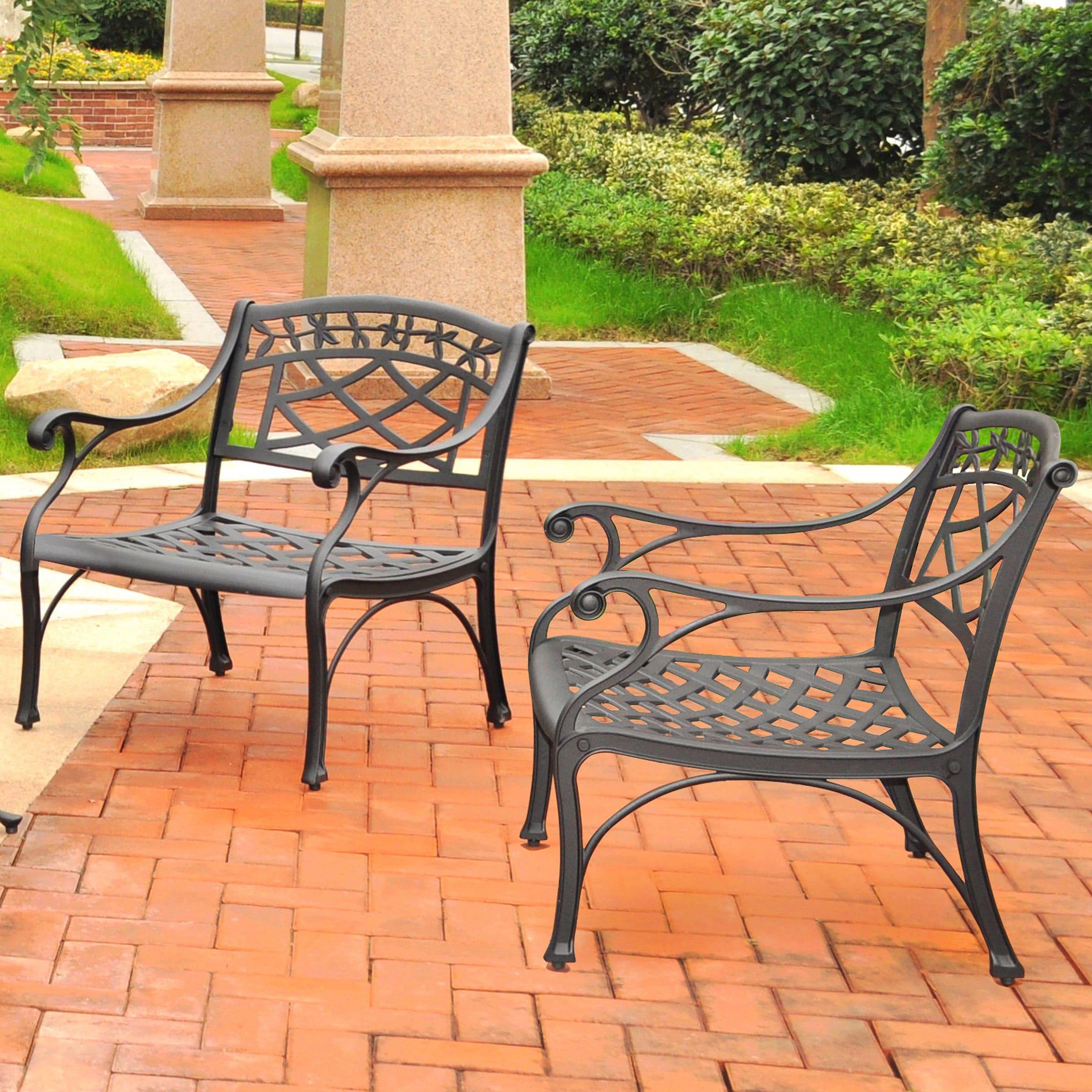 sedona 2 piece cast aluminum outdoor conversation seating set 2 club chairs black finish