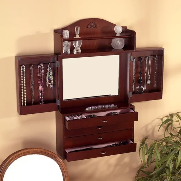 harper blvd brown wall mount jewelry armoire with mirror 16 5 x27 x