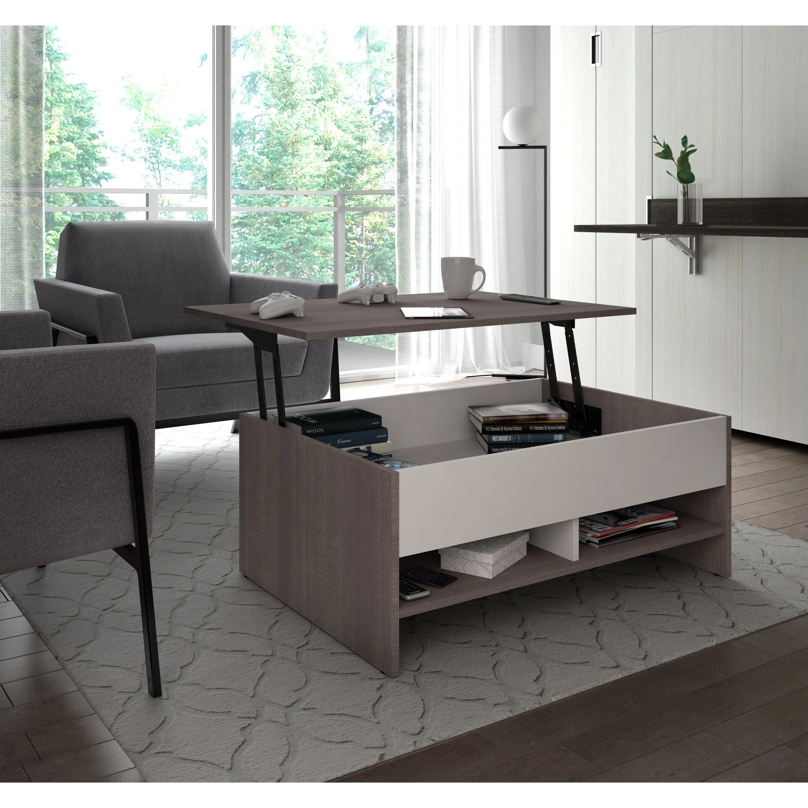 Shop Bestar Small Space 37 Inch Lift Top Storage Coffee Table On Sale Overstock 15210010 Bark Grey White