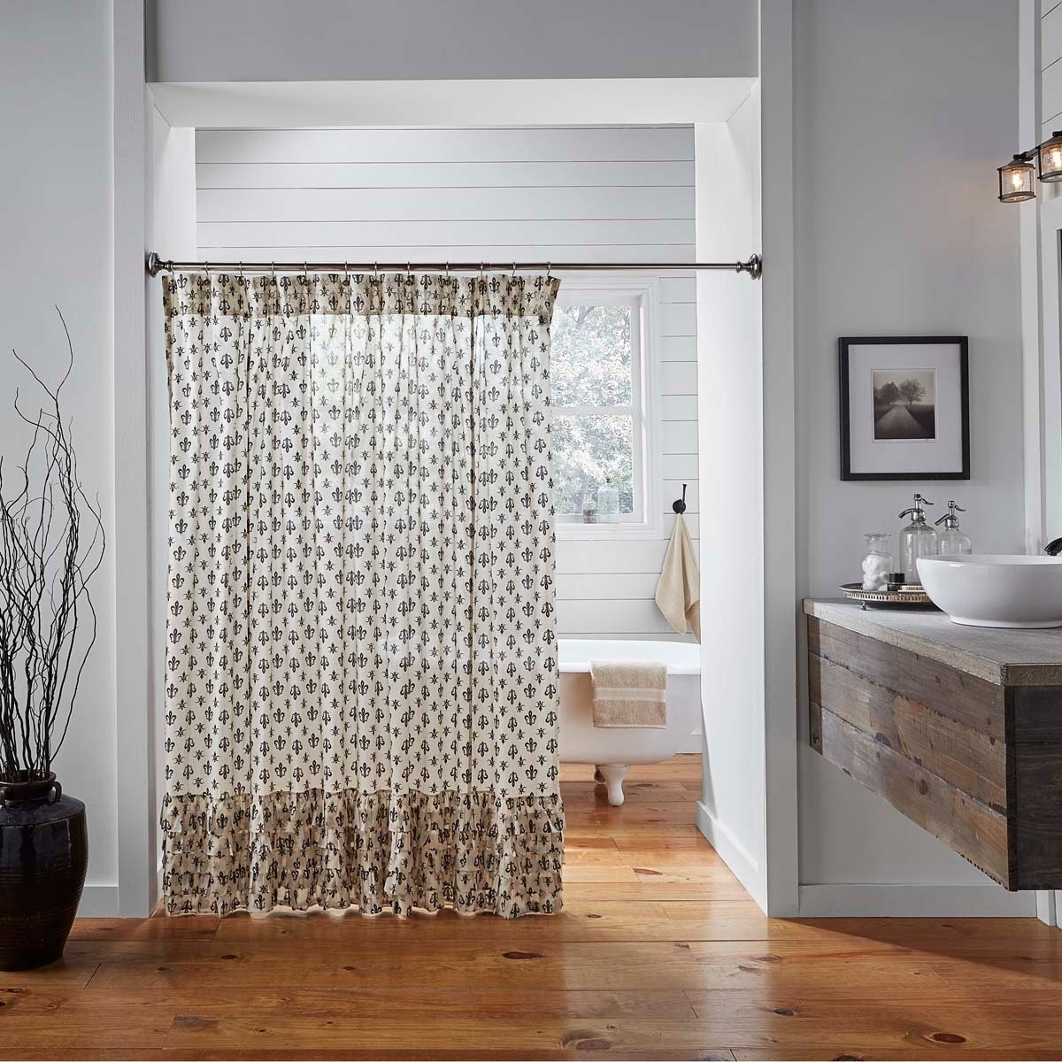 Black Farmhouse Bath Vhc Elysee Shower Curtain Rod Pocket Cotton Fleur De Lis