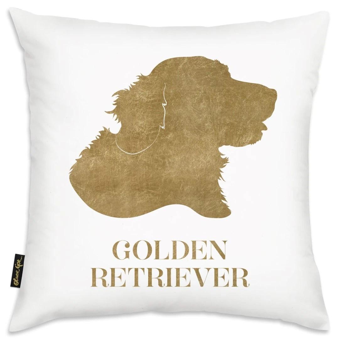 oliver gal gold golden retriever square decorative throw pillow