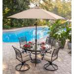 Shop Black Friday Deals On Hanover Traditions 5 Piece Dining Set In Tan With 48 In Glass Top Table 9 Ft Table Umbrella And Umbrella Stand Overstock 15973398