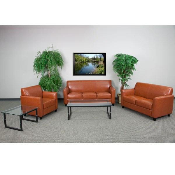 Shop Benville Modern Cognac Leather 3-piece Living Room ...